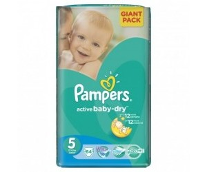 Pampers Active baby-dry 5 Junior, 11-18kg 64ks