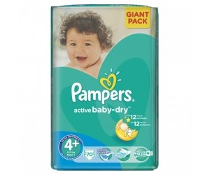 Pampers Active baby-dry 4+, 9-16kg 70ks